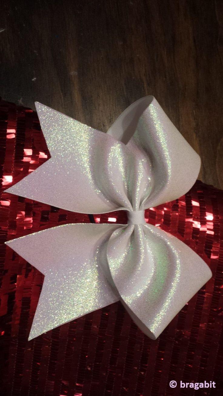 white glitter cheer bow