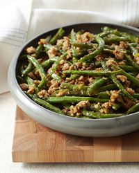 Szechuan Stir-Fried String Beans ~ there is a small amount of ground pork. This recipe is tasty and terrific!