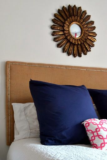 Burlap Headboard. I wouldn't do burlap but this def gave me tons of ideas about some other things I would like to try.
