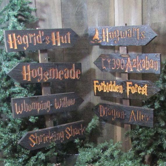 Harry Potter choisir votre propre signe ou ensemble - Poudlard Azkaban Hogsmeade Diagon Alley Hagrids Hut interdit forêt directionnel cèdre