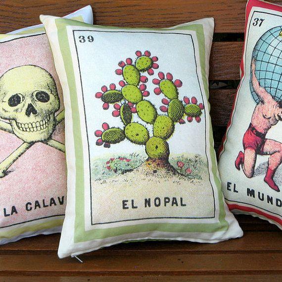 El Nopal Vintage Loteria Cactus Pillow Cover circa 1920 - Mexican Loteria, Day of the Dead, Dia de los Muertos, Mexican Cactus