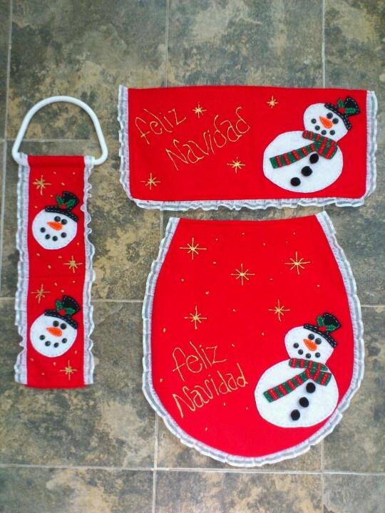 Juego de baño navideño  Navidad  Pinterest