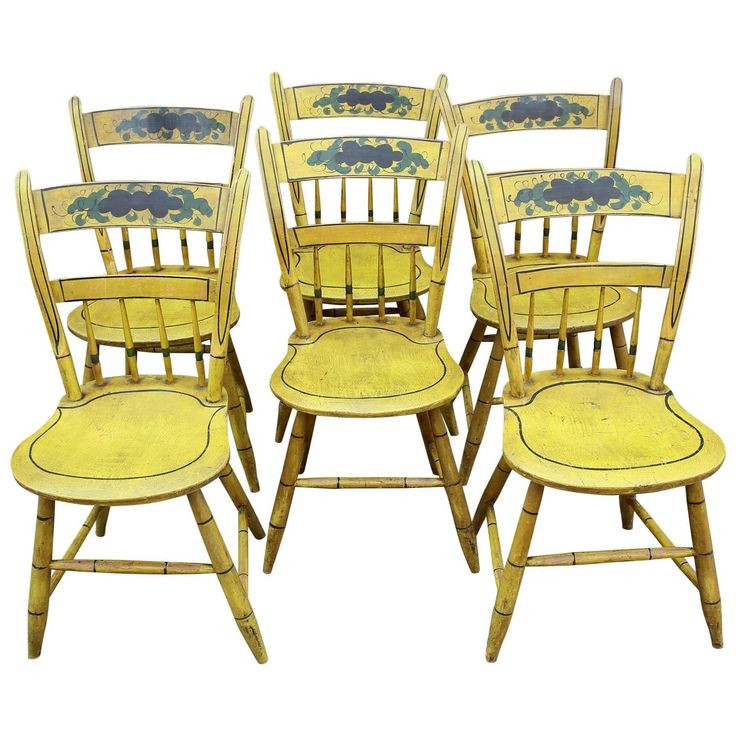 Set of Six Yellow Paint Decorated Chairs, New England, circa 1840