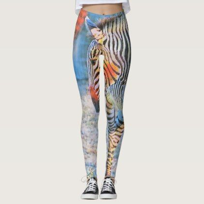 Watercolors - Zebra Leggings - watercolor gifts style unique ideas diy