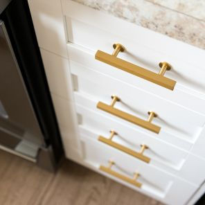 A Stunning, Unique Take On Kitchen Design. White Cabinetry, Brass Hardware,  And. Laminate CountertopsBrass ...