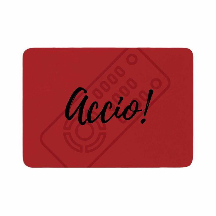 "Jackie Rose ""Accio! Remote"" Red Illustration Memory Foam Bath Mat"