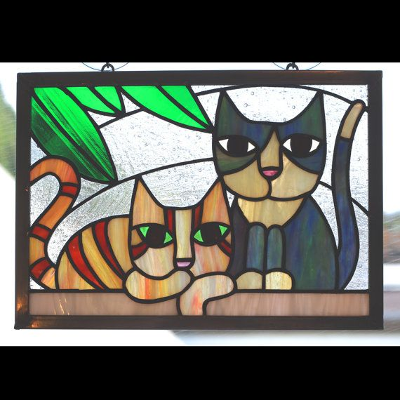 Stained Glass Panel Two Cats On A Wall by helixartandglass on Etsy, $60.00