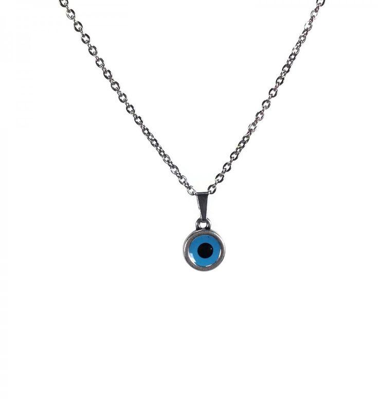 Pendentif oeil  bleu émaillé en metal argenté