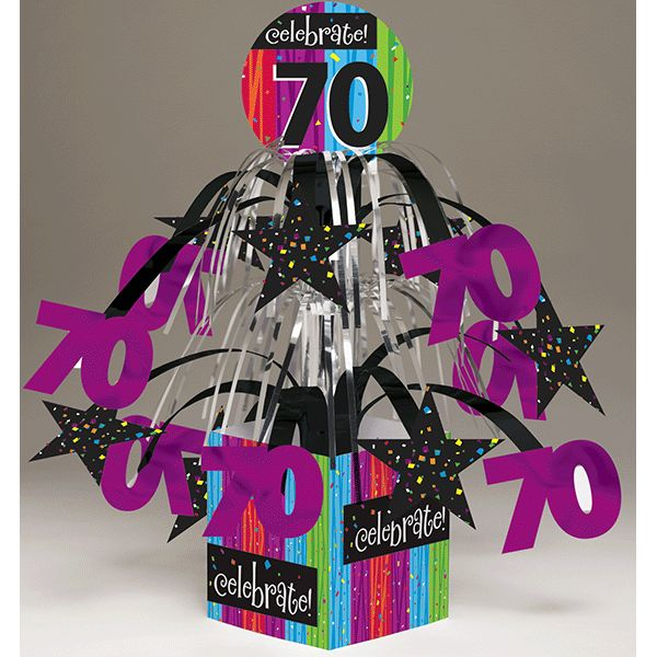 Milestone Celebrations 70th Birthday Mini-Cascade Centerpiece with Printed Base
