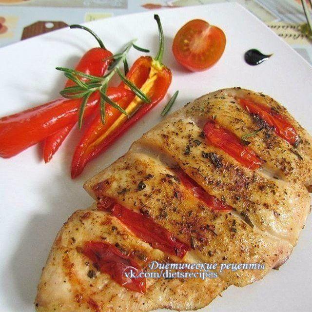 Куриное филе запеченное с помидорами на ужин!