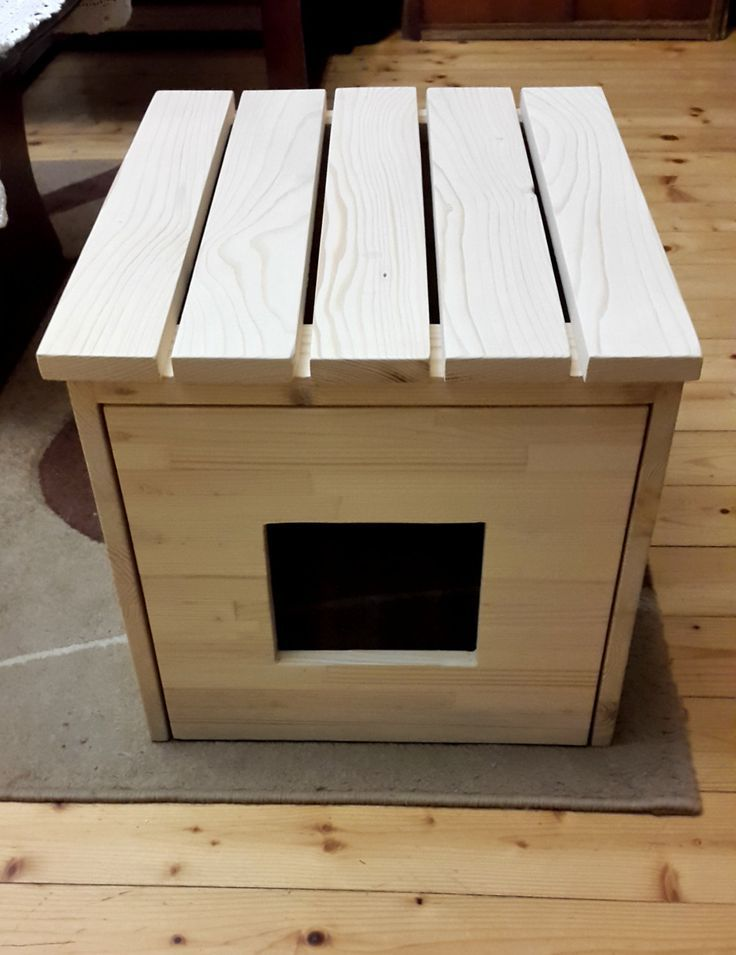 Cat Litter Box Cover, Cat House, Cat Litter Box Cabinet made of recycled spruce wood by PinkBau on Etsy https://www.etsy.com/listing/263113604/cat-litter-box-cover-cat-house-cat