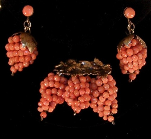 Antique Victorian Gold Washed Silver Natural Coral Grape Cluster Pin & Earrings
