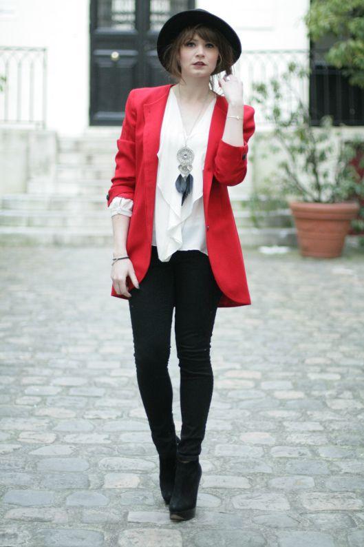 slim noir blazer rouge