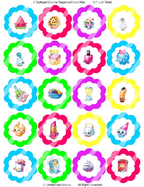 Shopkins Cupcake Toppers Instant Download By