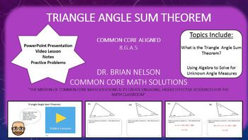 This purchase includes a PowerPoint, video lesson and video notes on the triangle exterior angle theorem. The PowerPoint is designed for whole classroom instruction while the pages may be individually printed as worksheets.  Common Core Alignment 8.G.A.5Use informal arguments to establish facts about the angle sum and exterior angle of triangles, about the angles created when parallel lines are cut by a transversal, and the angle-angle criterion for similarity of triangles.