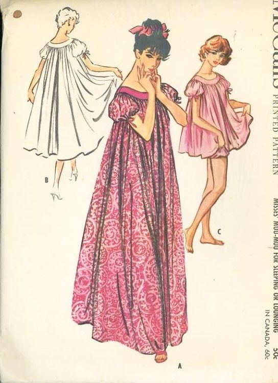 UNCUT 1950s McCalls Pattern 4610 Womens MuuMuu Night Gown B 38 to 40