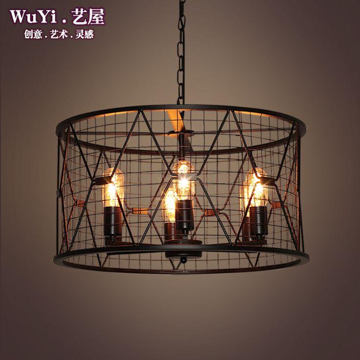 modern black birdcage pendant lights iron minimalist retro light Scandinavian loft pyramid lamp metal cage with led bulb #Affiliate