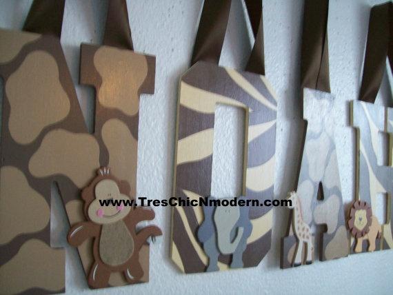 hand painted wall letters nursery letters handpainted personalized name sign zebra giraffe print zoo animals safari monkey boys girls jacana. $15.00, via Etsy.
