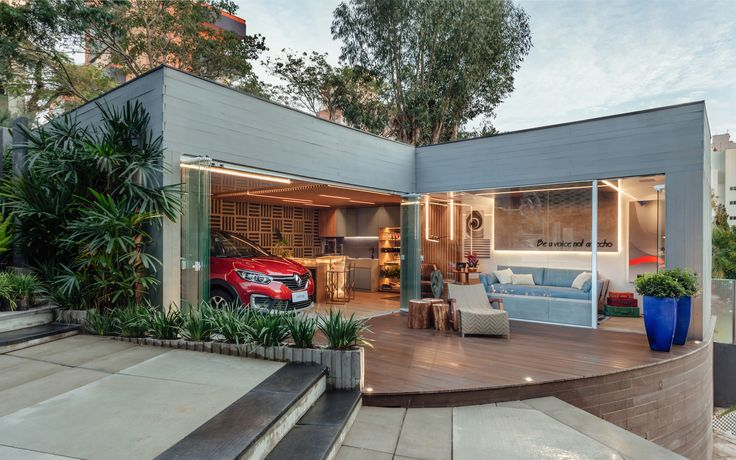 Projeto Garagem de Estar Renault, da designer de interiores Cristina Da Luz e do arquiteto Davi Alexandre Heissler. Foto: Cristiano Bauce