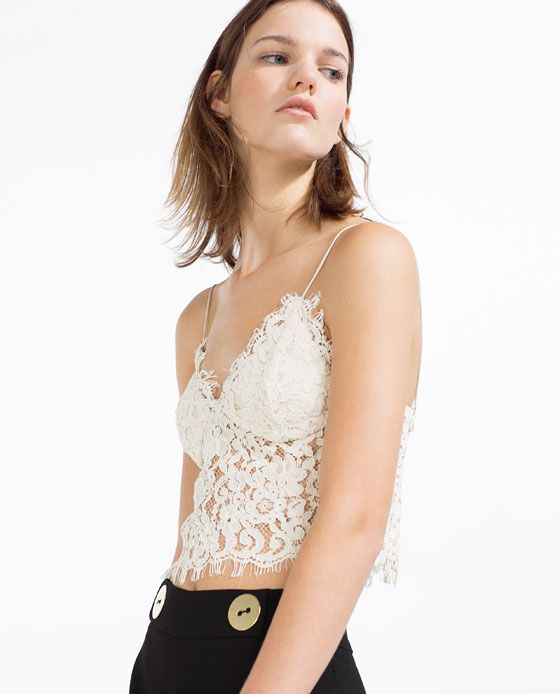 Image 3 of GUIPURE LACE TOP from Zara