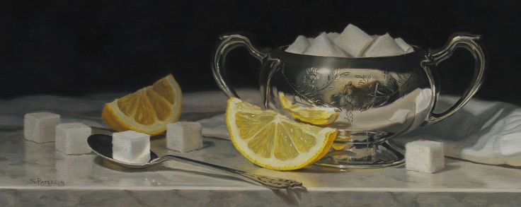 "Sugar Cubes and Lemon, Oil, 6"" x 14 3/4"" by Susan Paterson"