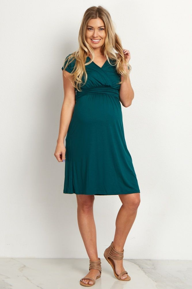 This gorgeous draped front maternity dress is oh so flattering and feminine. V-neckline is easy for nursing after pregnancy and fabric above the belly ties in the back. This maternity dress will make you look great in all the right places!