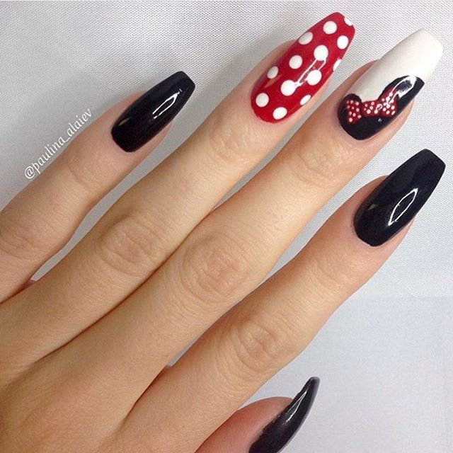 Disney Minnie Mouse Nails Red Polka Dots and Black - Best 25+ Disney Nails Ideas On Pinterest Disney Nail Designs