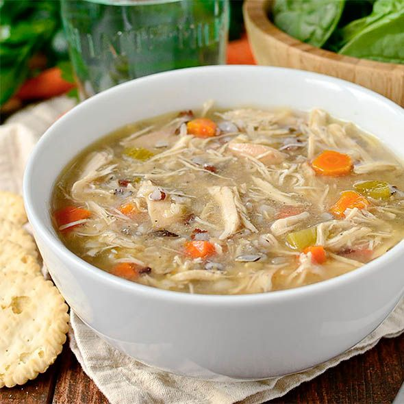 """Crock Pot Chicken and Wild Rice Soup could not be simpler nor more comforting. Simply add fridge and pantry staples into the crock pot then push """"on""""!"""