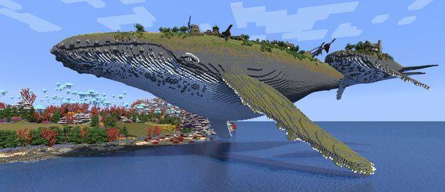 Ballena hecha de tierra, roca y otros materiales (Minecraft)