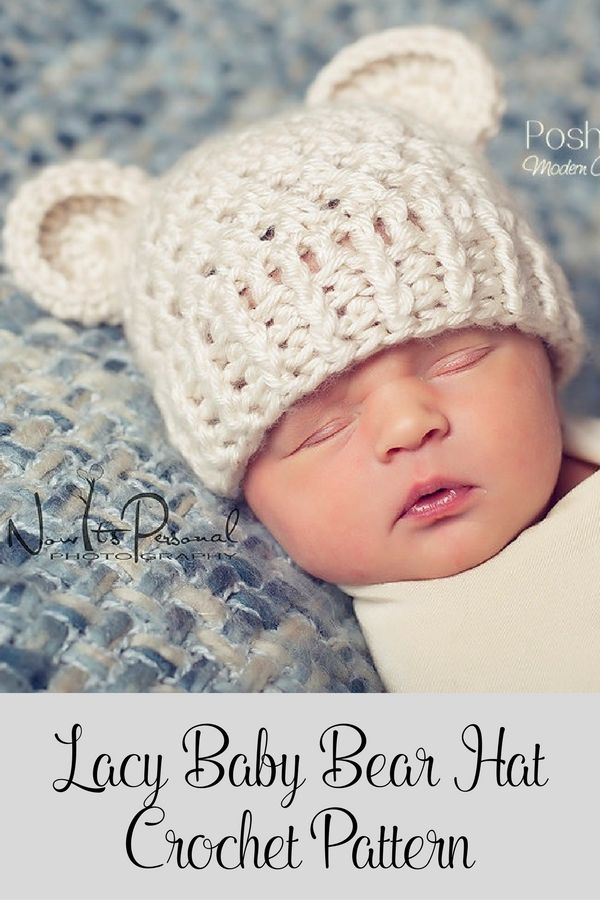 Crochet Pattern - this cute baby bear hat crochet pattern is perfect for boys and girls. It features a fun, lacy stitch design that makes this hat great for many seasons. Includes all sizes from baby to adult! By Posh Patterns.