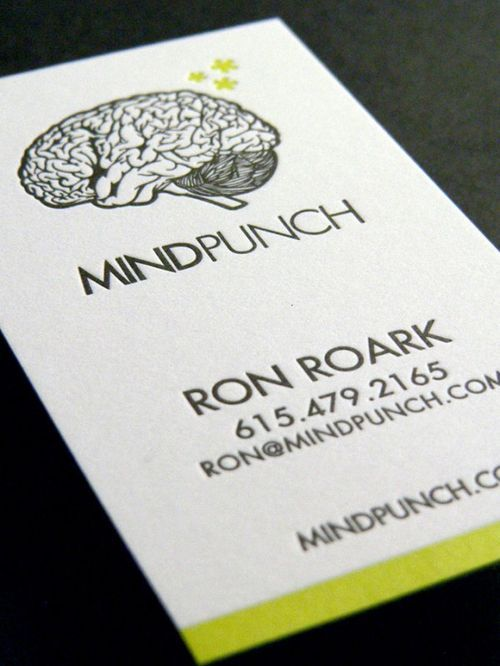 Letterpress business cards w/edge painted