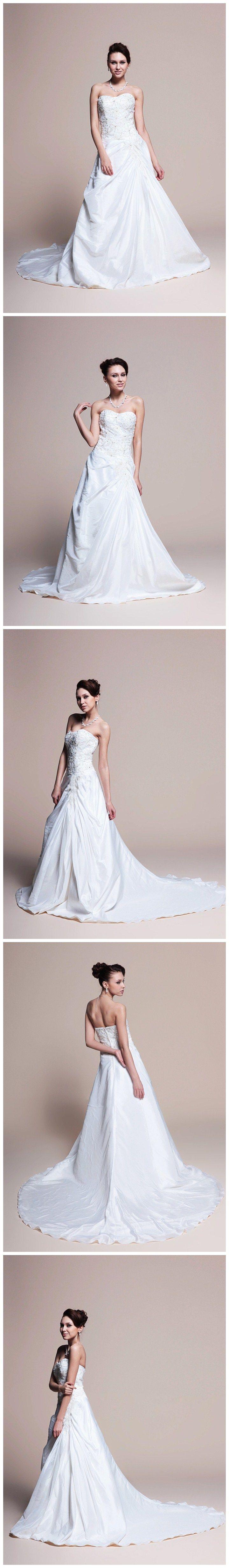 Taffeta A-Line Wedding Dress With Beaded Bodice