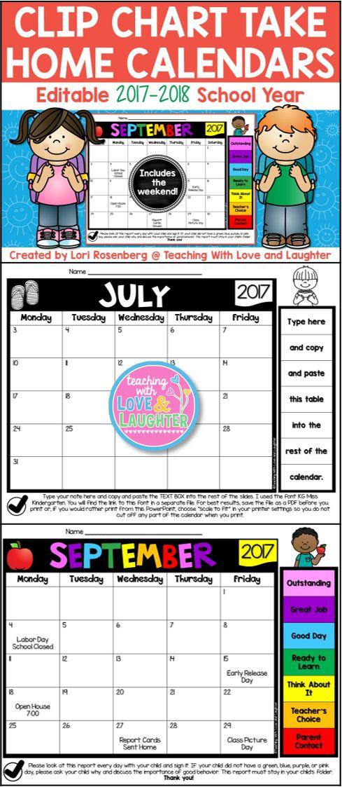 Kindergarten Behavior Calendar : Editable clip chart behavior calendars for the
