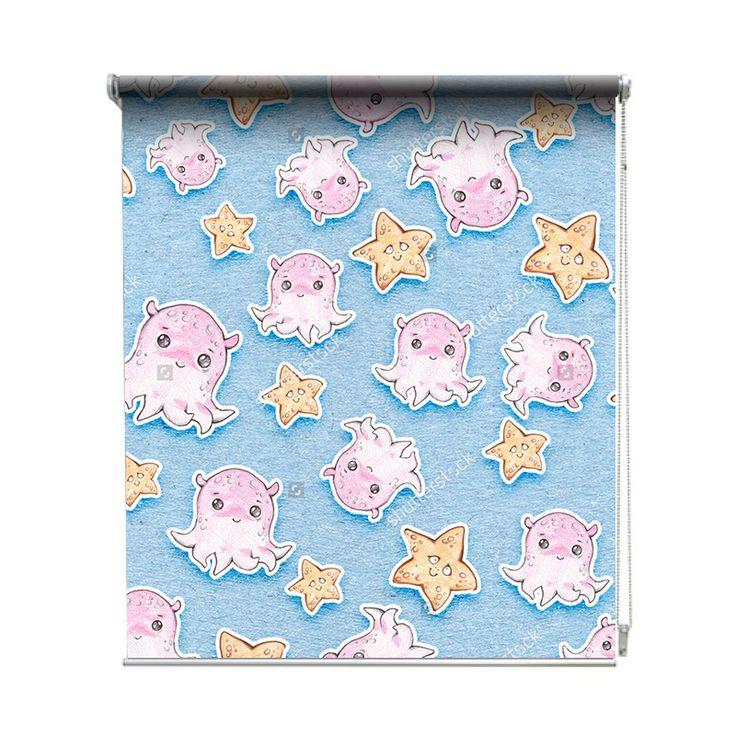 Rolgordijn Getekende zeediertjes | De rolgordijnen van YouPri zijn iets heel bijzonders! Maak keuze uit een verduisterend of een lichtdoorlatend rolgordijn. Inclusief ophangmechanisme voor wand of plafond! #rolgordijn #gordijn #lichtdoorlatend #verduisterend #goedkoop #voordelig #polyester #octopus #zeester #zeesterren #zee #dieren #dier #water #oceaan #babykamer #baby #schattig