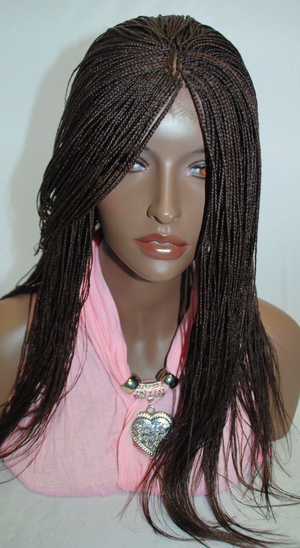 Fully Hand Braided Lace Front Wig Micro Braids Color 33