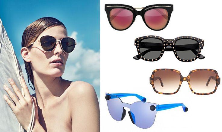 How do we choose the right sunglasses for our face?  With strass, Bottega Veneta // Saint Laurent // Stella McCartney //  Christopher Kane // Alisa Ahmann for the Neiman Marcus summer campaign