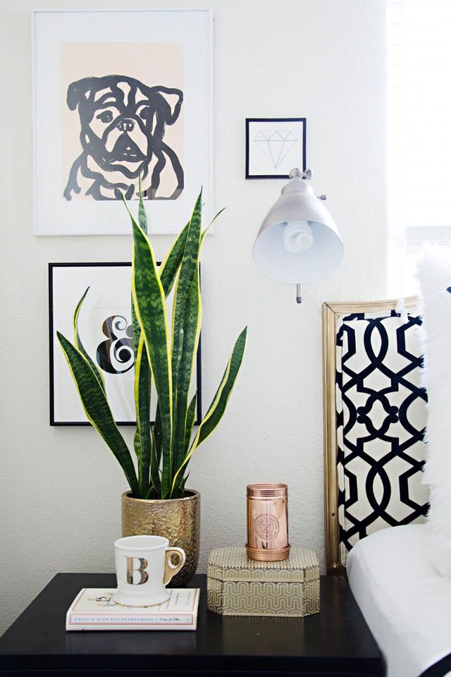 *Curating a Perfect Nightstand a detailed table lamp that gives off that perfect glow candle books, journals for a nighttime read/write clock fresh flowers tabletop accessories trays to contain all of the above picture frames