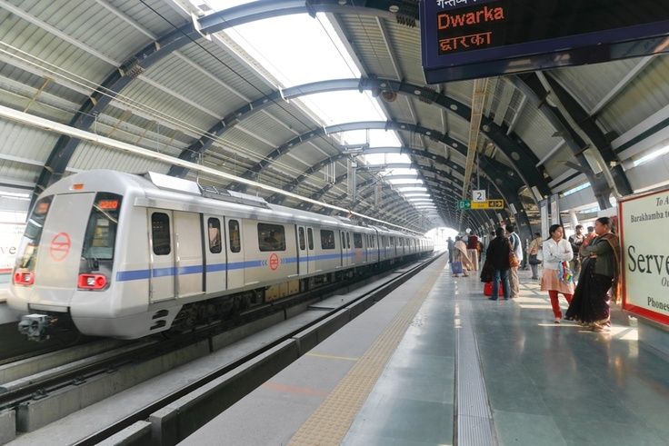 Metro Train, New Delhi, India.