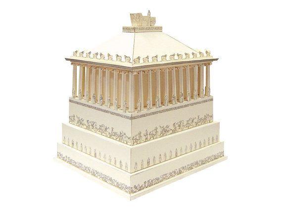 Mausoleo de Halicarnaso, mano montado modelo miniatura || Hito de la arquitectura griega en Turquía