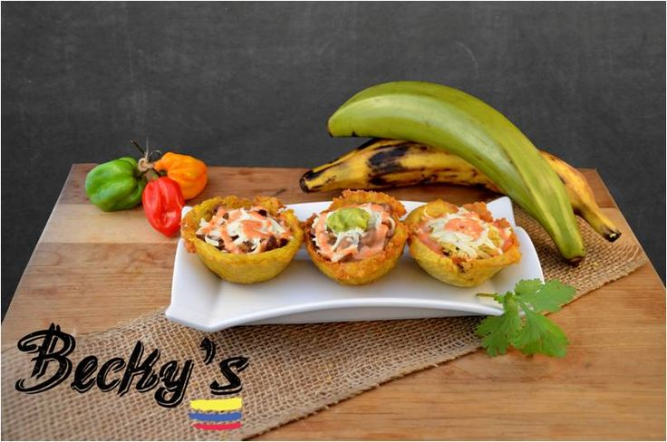 This tostones are a good option to eat at any time.  Plantain cups filled with your protein choice