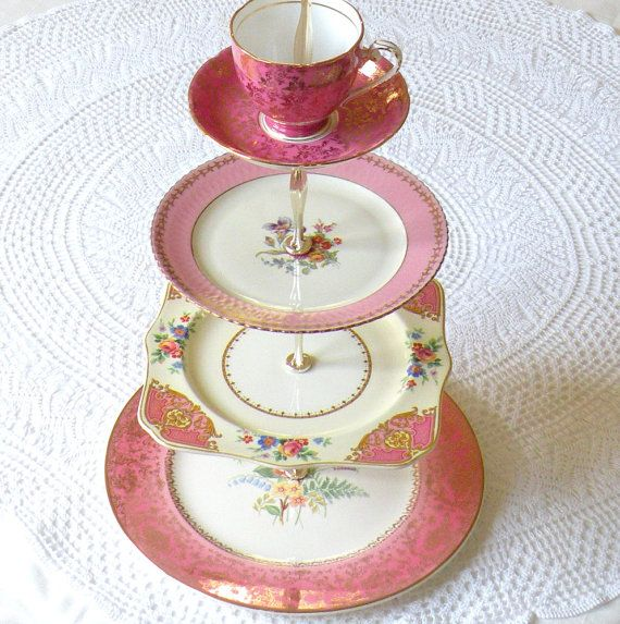 lovely old china...for make-up storage in bathroom