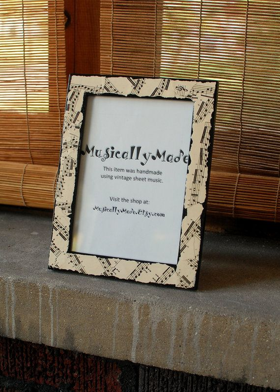 Frame decoupaged with vintage sheet music