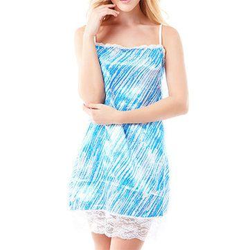 Women Spaghetti Strap Satin Sleepwear Blue Printing Lace Hem Nightdress at Banggood
