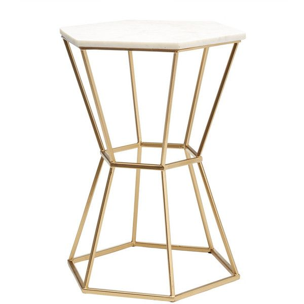 Two's Company Hexagonal Marble Top Accent Table With Gold Base... (5,570 MXN) ❤ liked on Polyvore featuring home, furniture, tables, accent tables, gold accent table, hexagon accent table, marble top table, white occasional table and marble top accent table