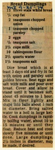 Bread Dumplings. :: Historic Recipe