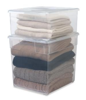 6 easy peasy ways to use plastic storage containers: Sweater and bulky clothing items