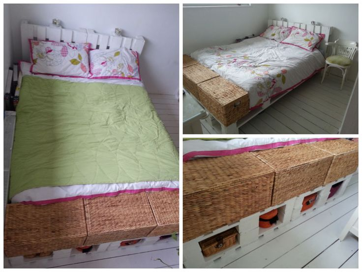 King size bed made from upcycled pallets!    Idea sent by Kamila Marcin ! #Bed, #Bedroom, #Pallets