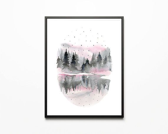 Printable wall art forest/ watercolor/ by WatercolorprintByOli
