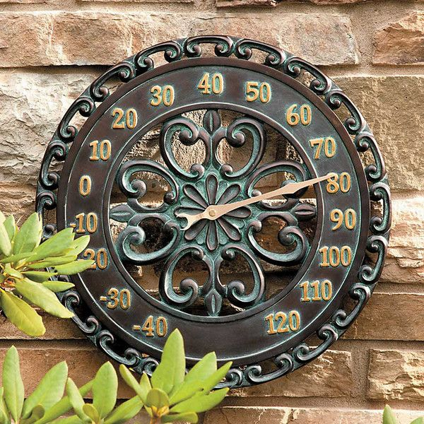 """Improvements 14"""" Copper Verdigris Outdoor Thermometer (150 SAR) ❤ liked on Polyvore featuring home, outdoors, outdoor decor, garden accessories, outdoor clocks, outdoor thermometers, outside garden decor, copper garden decor, garden decor and outdoor patio decor"""