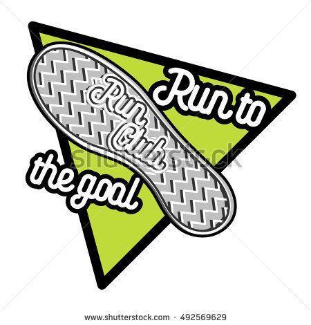 Running club logo template. Running club design elements and sport equipment icons. Color vintage run club emblem